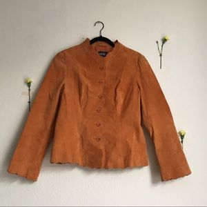 rust brown suede leather jacket with scalloped hem